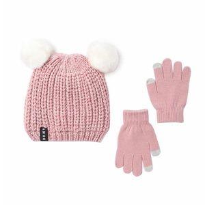 DKNY Faux Fur Chunky Knit Pompom And Gloves Set